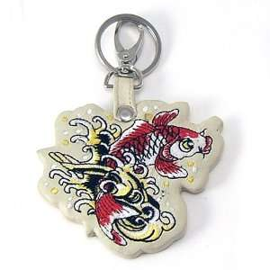 Licensed Don Ed Hardy Koi Fish Leather Keychain: Home & Kitchen