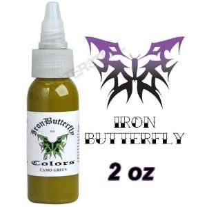 Iron Butterfly Tattoo Ink 2 OZ CAMO GREEN Pigment NEW: Health