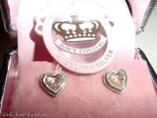 New Juicy Couture Sterling Crystal Heart Earrings +Box