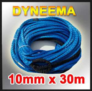 New Dyneema Synthetic Winch Rope 10mm x 30m,4x4 Camping