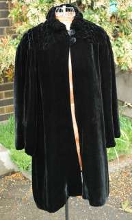 Antique Victorian Long Opera Black Velvet Over Coat