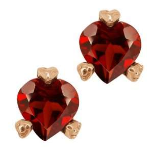 1.80 Ct Heart Shape Red Garnet 14k Rose Gold Earrings