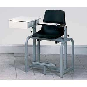 Extra tall blood drawing chair with plastic seat, swing arm & drawer