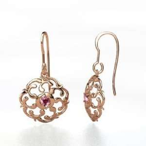 Thangka Earrings, 14K Rose Gold Earrings with Rhodolite