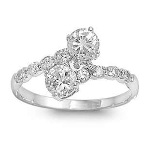 Rhodium Plated Sterling Silver 11mm Clear CZ Ring (5   9