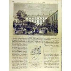 1863 Station Railway Paris Military French Print Home