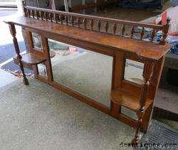 Antique Quartered Oak Mirrored Shelf Mantel Top Carved Beaded + Dentil