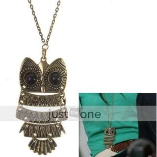 Vintage Bronze Style Metal Chain Necklace w Big Eye Owl Pendant
