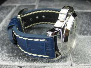 BIG CROCO 24mm LEATHER STRAP Band Blue with White Stitch for PANERAI