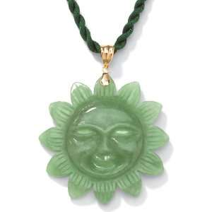 PalmBeach Jewelry Green Jade 14k Gold Sun Pendant Jewelry
