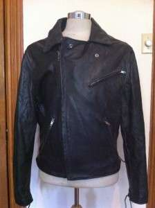 VINTAGE 1970s BLACK LEATHER MOTORCYCLE JACKET SNAKE SKIN BACK SIZE