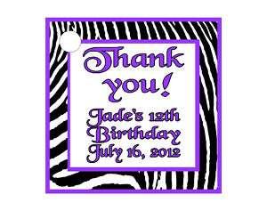 Purple Zebra Girl Birthday Favors Gift Tags Square Personalized