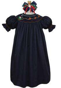 Smocked navy Santa Christmas bishop dress 4T 4 16438