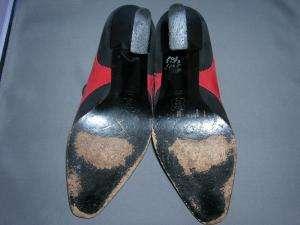 KARL LAGERFELD red & black SUEDE heels shoes 6.5 M