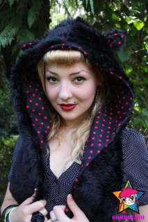 BLACK CAT EAR SNOOD HOOD SCARF HAT SCENE GOTH SCENE