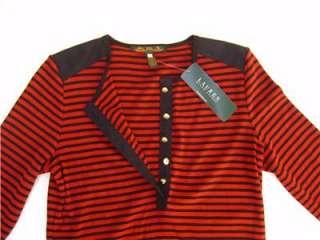 Ralph Lauren Womens XL Sweater Shirt Button Striped Black Red