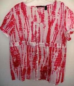 1x Sherry Taylor Cotton HOT Pink & White Shirt Blouse