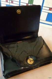 Vtg. 60s Custom Made Black Patent Leather Structured Purse Excl. Cond