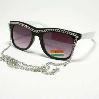 CELEBRITY Pop Star Silver Chain Sunglasses 80s Retro Style BLACK and