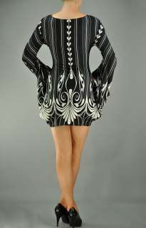 MM APPAREL Black White DRESS w/ Printed Hearts Stripes Attached Bell