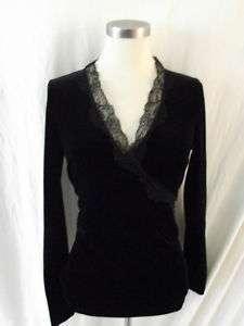 Ralph Lauren NWT $89 Black Shirt Top Velvet Lace S