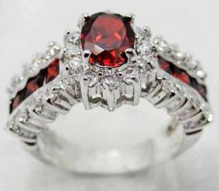Jewelry Bland new ruby ladys 10KT white Gold Filled Ring #8