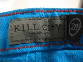 KILL CITY Blue Green Denim Skinny Jeans Pants SZ 28