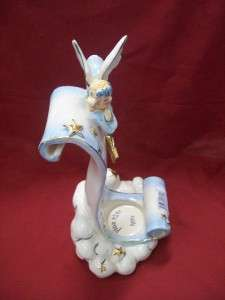 Blue Sky Clayworks Birthday Star Angel Ceramic Tealight Scroll
