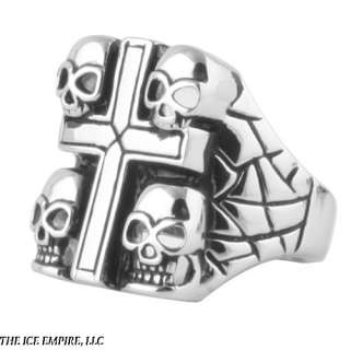 MENS STAINLESS STEEL SKULSS AND CROSS COLLECTION RING SIZES 9 15 R362