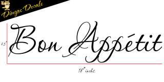 Bon Appetit Vinyl vinly wall art decal stickers Kitchen Decor