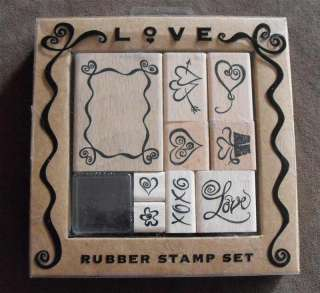 9pc Love Rubber Stamp Set with Ink Pad   T38