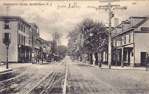 Bordentown NJ Burlington Co Street Scene Postcard N J