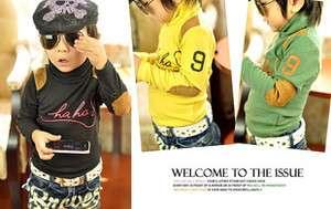 Boutique Turtle Neck Cotton Long Sleeve T shirt W/ Patches Unisex