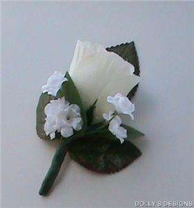 BOUTONNIERE IVORY ROSE Wedding Silk Flowers for the Groom, Groomsmen