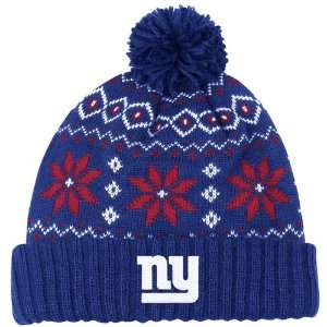 NEW YORK GIANTS Womens Chunky Pom Cuffed Knit Beanie Hat