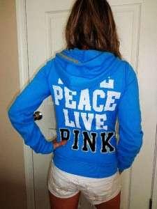 LOVE PEACE LIVE PINK Zip Up Blue Hoodie Sweat Shirt euc XS