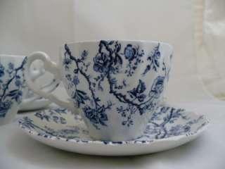 Cups 5 Saucers Blue Old Bradbury Johnson Brothers English Ironstone
