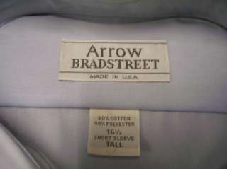 VTG Arrow Bradstreet SS Blue Dress Shirt 16 1/2 Tall L