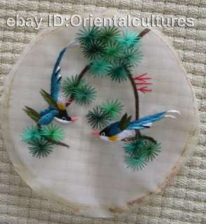 Chinese Handmade double face silk Embroiderybirds 4