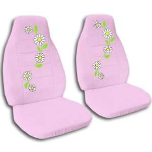 2 sweet pink daisy car seat covers for a 2000 Honda Civic