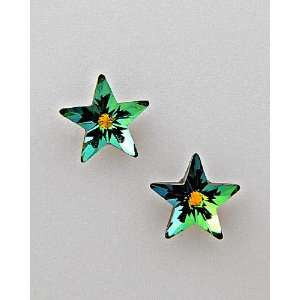 Green Stars Earrings Made with Swarovski Crystal Stud Earring Set Made