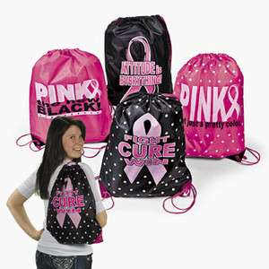 Breast Cancer Awareness Nylon Pink Ribbon Drawstring Backpacks 4