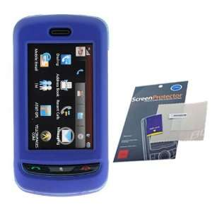 BLUE Hard Plastic Full View Rubber Feel Cover Case w/ Screen Protector
