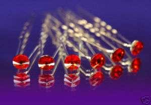 pcs X Red Bridal Hair Pins w/ Swarovski Crystal P1071
