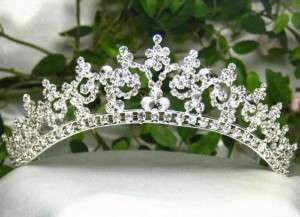 AUSTRIAN RHINESTONE CROWN TIARA HAIR COMBS BRIDAL WEDDING T301S