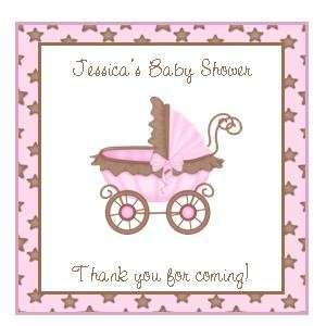 20 Baby Shower Favor Tags   Square   Pink/Brown Buggy