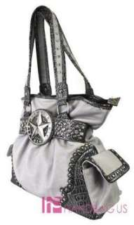 NEW WESTERN STAR STUD RHINESTONE PURSE BAG HANDBAG GRAY