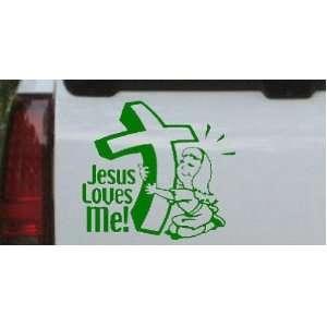 Girl) Christian Car Window Wall Laptop Decal Sticker    Dark Green