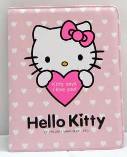 Hello Kitty leather case cover stand for apple iPad 1 pink