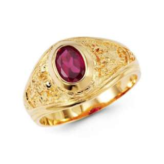 14K Solid Yellow Gold Mens Graduation Oval Red CZ Ring